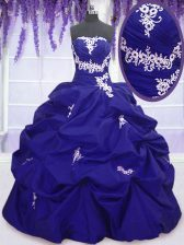 New Arrival Royal Blue Lace Up Vestidos de Quinceanera Appliques and Pick Ups Sleeveless Floor Length