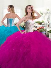 Sleeveless Floor Length Beading and Ruffles Lace Up Sweet 16 Quinceanera Dress with Fuchsia
