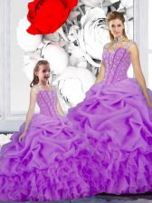 Fabulous Straps Pick Ups Purple Sleeveless Organza Lace Up Vestidos de Quinceanera for Military Ball and Sweet 16 and Quinceanera