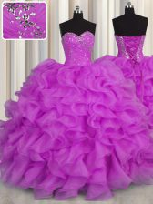 Elegant Sleeveless Floor Length Beading and Ruffles Lace Up Vestidos de Quinceanera with Lilac