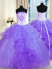 Decent Lavender Tulle Lace Up Strapless Sleeveless Floor Length Sweet 16 Dresses Pick Ups and Hand Made Flower