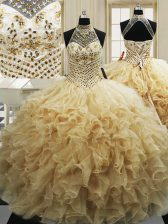 Pretty High-neck Sleeveless Tulle 15th Birthday Dress Beading and Ruffles Sweep Train Lace Up