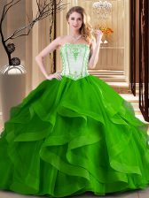 Green and Fuchsia Tulle Lace Up Quinceanera Gown Sleeveless Floor Length Embroidery