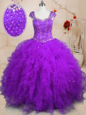 Low Price Purple Vestidos de Quinceanera Military Ball and Sweet 16 and Quinceanera with Beading and Ruffles Square Cap Sleeves Lace Up