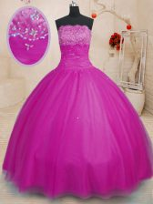 Tulle Strapless Sleeveless Lace Up Beading Sweet 16 Quinceanera Dress in Fuchsia