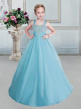 Aqua Blue Ball Gowns Straps Sleeveless Organza Floor Length Lace Up Beading Little Girls Pageant Dress Wholesale