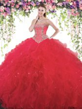 Unique Tulle Sweetheart Sleeveless Lace Up Beading Vestidos de Quinceanera in Red