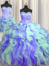 Best Selling Three Piece Sweetheart Sleeveless Lace Up Quince Ball Gowns Multi-color Organza