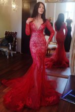 Mermaid Red Long Sleeves Sweep Train Beading and Lace Prom Dresses
