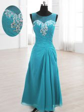 High End A-line Prom Dress Teal Scoop Chiffon Sleeveless Floor Length Lace Up