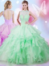 Apple Green Ball Gowns Tulle High-neck Sleeveless Beading and Ruffles Floor Length Lace Up 15th Birthday Dress