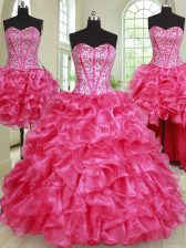 Four Piece Floor Length Ball Gowns Sleeveless Hot Pink Quince Ball Gowns Lace Up