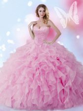Rose Pink Lace Up Sweet 16 Dresses Beading and Ruffles Sleeveless Floor Length