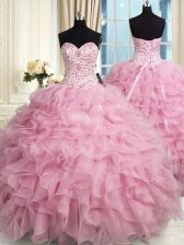 Rose Pink Organza Lace Up Quinceanera Gown Sleeveless Floor Length Beading and Ruffles