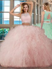 Scoop Sleeveless Backless Ball Gown Prom Dress Pink Tulle