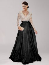 Sophisticated Long Sleeves Floor Length Zipper Prom Evening Gown Black for Prom with Beading and Belt
