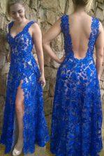 Blue Sleeveless Floor Length Lace Backless Evening Dress