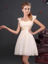 Straps Ruching and Bowknot Dama Dress Champagne Zipper Sleeveless Mini Length