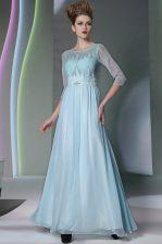 Light Blue Column/Sheath Scoop Half Sleeves Chiffon Ankle Length Zipper Beading Evening Dress