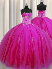 Attractive Really Puffy Sleeveless Beading and Appliques Lace Up Quinceanera Dresses