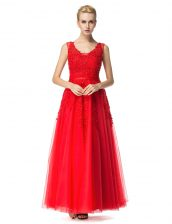 Sleeveless Beading and Appliques Lace Up Prom Dress