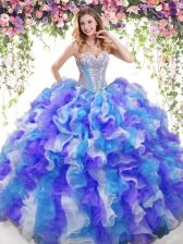 Organza Sweetheart Sleeveless Lace Up Beading and Ruffles 15th Birthday Dress in Multi-color