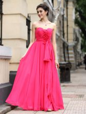 Hot Pink Sleeveless Sashes ribbons and Ruching and Hand Made Flower Floor Length