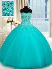 Custom Design Sleeveless Floor Length Beading Lace Up Quinceanera Dress with Aqua Blue