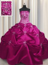 Fuchsia Strapless Neckline Beading and Appliques and Embroidery 15 Quinceanera Dress Sleeveless Lace Up