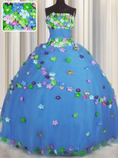 Lovely Blue Sleeveless Floor Length Hand Made Flower Lace Up Ball Gown Prom Dress