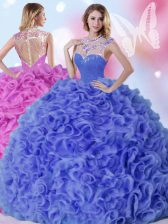 Floor Length Zipper Quinceanera Gown Blue for Military Ball and Sweet 16 and Quinceanera with Beading and Ruffles