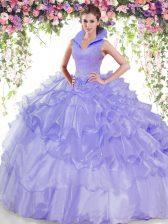 Flirting Sleeveless Backless Floor Length Beading and Ruffled Layers Ball Gown Prom Dress