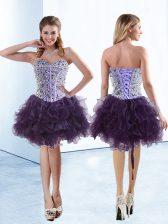 New Style Purple Sleeveless Beading and Ruffles Knee Length