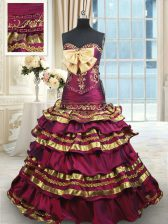 Burgundy Sweetheart Neckline Beading and Ruffled Layers and Bowknot Sweet 16 Dress Sleeveless Lace Up