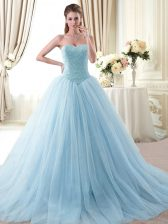 Tulle Sweetheart Sleeveless Lace Up Beading Sweet 16 Quinceanera Dress in Light Blue