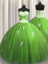 Shining Green Sweetheart Lace Up Beading and Appliques Quinceanera Dress Sleeveless