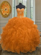 Perfect Orange Sweetheart Neckline Beading and Embroidery and Ruffles Sweet 16 Quinceanera Dress Sleeveless Lace Up