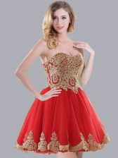 Simple Sweetheart Sleeveless Lace Up Damas Dress Red Tulle
