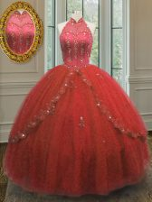 High End Halter Top Wine Red Sleeveless Floor Length Beading and Appliques Lace Up Quinceanera Gown