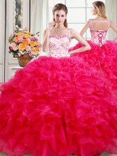 Traditional Straps Sleeveless Lace Up Quinceanera Dress Hot Pink Organza
