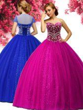 Stunning Fuchsia Sweetheart Neckline Beading Quinceanera Dress Sleeveless Lace Up
