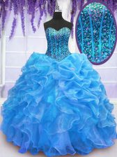 Admirable Blue Lace Up Ball Gown Prom Dress Beading and Ruffles Sleeveless Floor Length