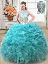 Most Popular Scoop Sleeveless Organza Floor Length Lace Up Quince Ball Gowns in Aqua Blue with Beading and Ruffles