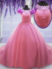 Customized Rose Pink Lace Up Scoop Beading and Hand Made Flower Ball Gown Prom Dress Tulle Cap Sleeves Court Train