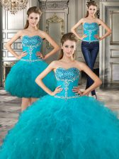Three Piece Teal Ball Gowns Tulle Sweetheart Sleeveless Beading and Ruffles Floor Length Lace Up Quince Ball Gowns