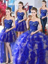Four Piece Blue Lace Up Sweetheart Beading Sweet 16 Dresses Organza Sleeveless