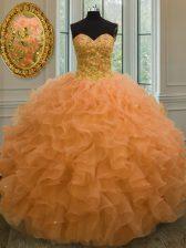 Cute Orange Lace Up Sweetheart Beading and Ruffles Quinceanera Dress Organza Sleeveless