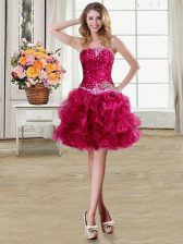 Super Fuchsia Ball Gowns Beading and Ruffles Prom Evening Gown Lace Up Organza Sleeveless Mini Length