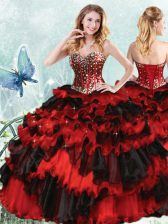 Comfortable Red And Black Organza Lace Up Sweetheart Sleeveless Floor Length Quince Ball Gowns Beading and Ruffled Layers and Sequins