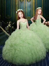 Cheap Straps Apple Green Ball Gowns Beading and Ruffles Pageant Gowns For Girls Lace Up Organza Sleeveless Floor Length
